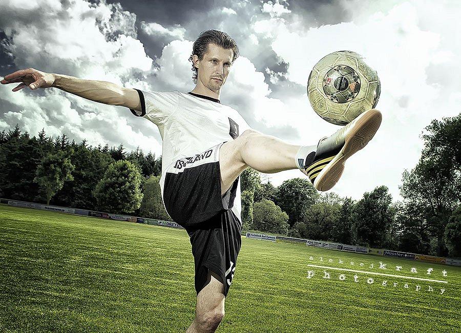 Footballer in action